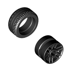 레고 부품 자동차 타이어 휠 결합 상품 Black Tire 21mm x 9.9mm / Black Wheel 14mm D. x 9.9mm with Center Groove, Fake Bolts and 6 Double Spokes 6029208 6288175
