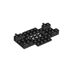 레고 부품 자동차 베이스 검정색 Black Vehicle, Base 6 x 10 x 1 with 2 x 4 Recessed Center and 2 Holes 6285534