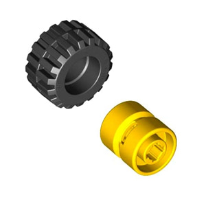 레고 부품 자동차 타이어 휠 결합 상품 Black Tire 21mm D. x 12mm - Offset Tread Small Wide, Band Around Center of Tread / Yellow Wheel 11mm D. x 12mm, Hole Notched for Wheels Holder Pin 4568644 4170460