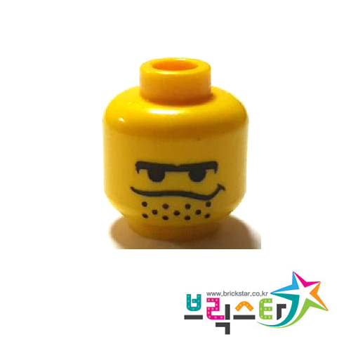 레고 부품 피규어 머리 짧은 턱수염 얼굴 Yellow Minifigure, Head Male Black Unibrow, Stubble under Dipping Mouth Line Pattern - Blocked Open Stud