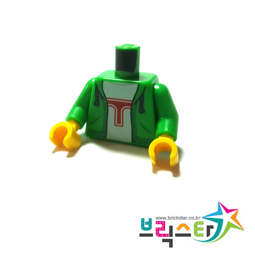 레고 부품 피규어 상체 토르소 후드 자켓 밝은 녹색 Bright Green Torso Hoodie, White Shirt with Red 'T' Pattern / Bright Green Arms / Yellow Hands