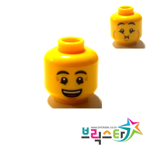 레고 부품 피규어 머리 양면 얼굴 Minifigure, Head Dual Sided Eyebrows, Crow's Feet, Open Mouth Smile / Queasy Expression with Sweat Drop Pattern - Hollow Stud 6123728