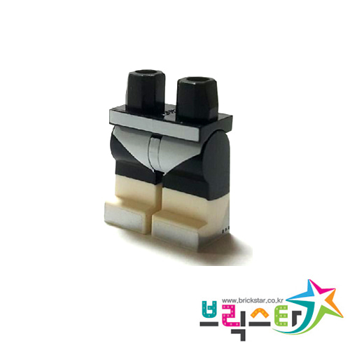 레고 부품 피규어 다리 검정색 힙과 흰색 신발 Black Hips and Legs with White Leotard and Boots with Silver Toes Pattern