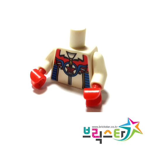 레고 부품 피규어 상체 토르소 스턴트맨 White Torso Zipper Top with Red Star in Blue Circle with Wings Pattern / White Arms / Red Hands