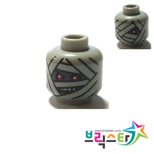 레고 부품 피규어 머리 미이라 양면 얼굴 Light Bluish Gray Minifigure, Head Dual Sided Alien with Mummy Face 1 Red Eye / 2 Red Eyes Pattern