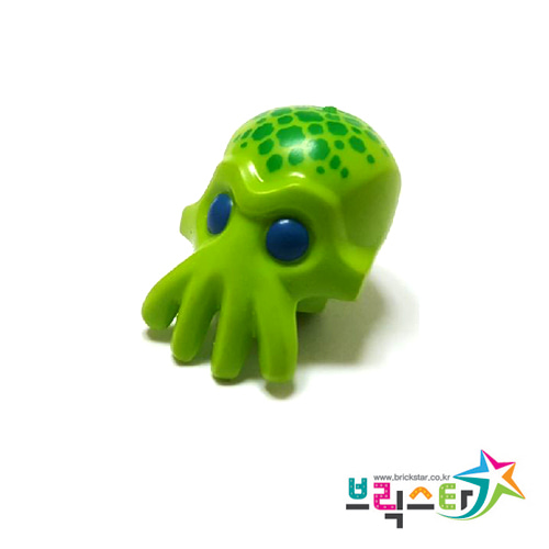 레고 부품 피규어 머리 외계인 라임색 Lime Minifigure, Head Modified Alien with 4 Mouth Tentacles and Blue Eyes and Green Spots Pattern