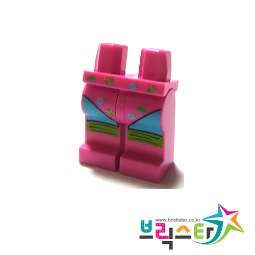 레고 부품 피규어 다리 에어로빅 다크 핑크 Dark Pink Hips and Legs with Leotard and Lime Leg Warmers Pattern
