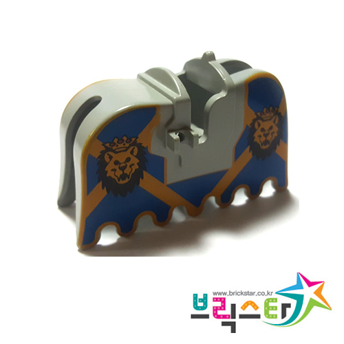 [USED사용감있음]레고 부품 레오 왕 말바딩 Light Gray Horse Barding, Ruffled Edge with Lion Heads and Blue and Yellow Pattern한쪽 클립 깨짐