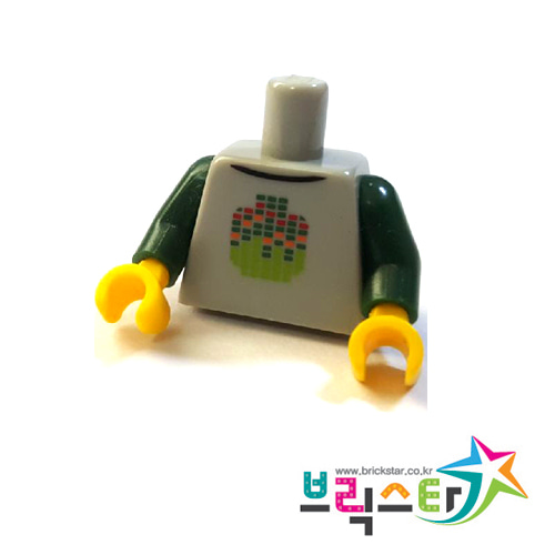 레고 부품 피규어 상체 토르소 다크 그린 양팔 밝은 회색 Light Bluish Gray Torso Stylized Digital Minifigure Head Pattern / Dark Green Arms / Yellow Hands