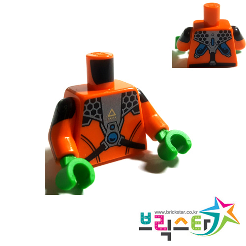 레고 부품 피규어 상체 토르소 오렌지색 Orange Torso Jumpsuit with Pearl Dark Gray Armor Gear Pattern / Orange Arms with Black Short Sleeve, Stripes and Pearl Dark Gray Insignia Pattern / Bright Green Hands