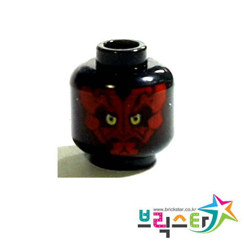 레고 부품 스타워즈 다스 몰 머리 검정색 Black Minifigure, Head Alien with SW Darth Maul, Red Face Pattern - Blocked Open Stud