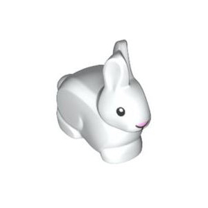 레고 부품 토끼 바니 랜드 흰색 White Animal, Land Bunny / Rabbit with Black Eyes and Mouth and Bright Pink Nose Pattern 6186286